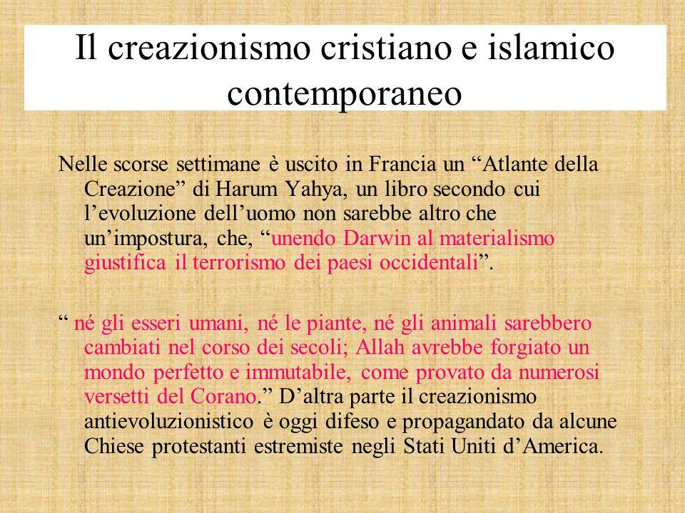 Il creazionismo cristiano e islamico contemporaneo