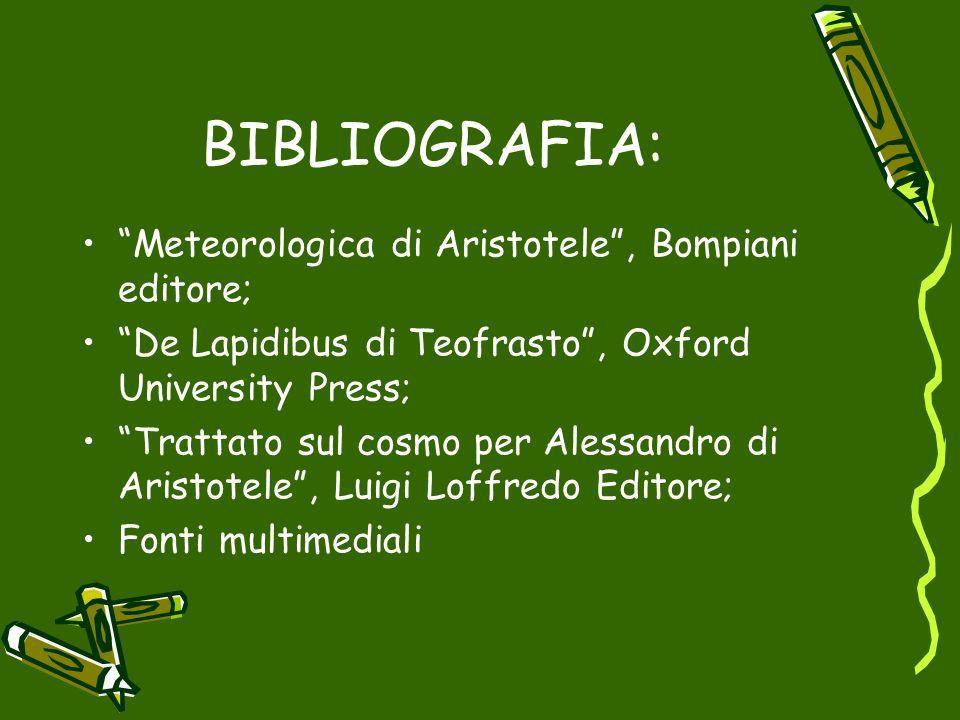 BIBLIOGRAFIA: Meteorologica di Aristotele , Bompiani editore;
