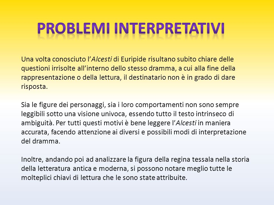 Problemi interpretativi