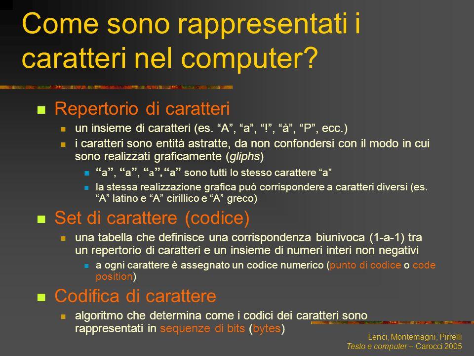 Come sono rappresentati i caratteri nel computer