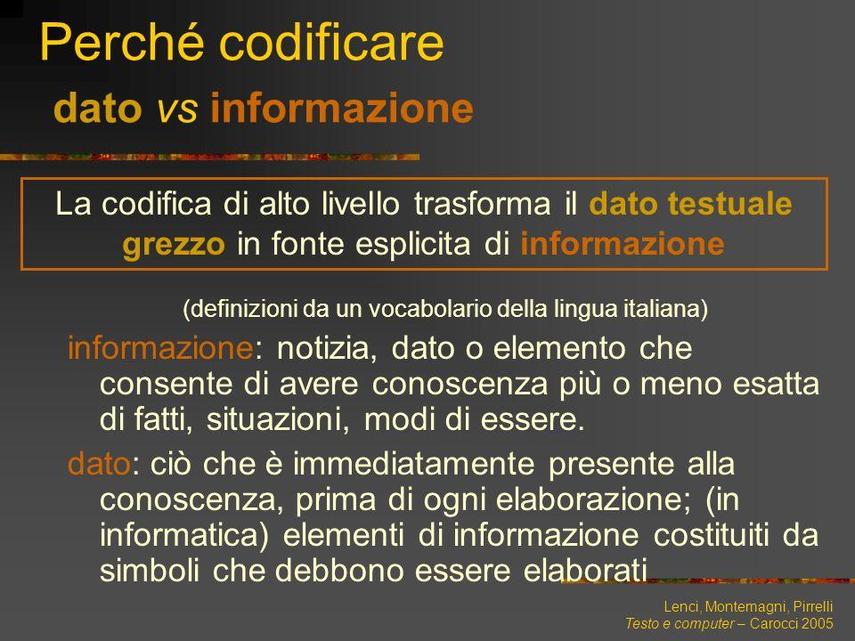 Perché codificare dato vs informazione