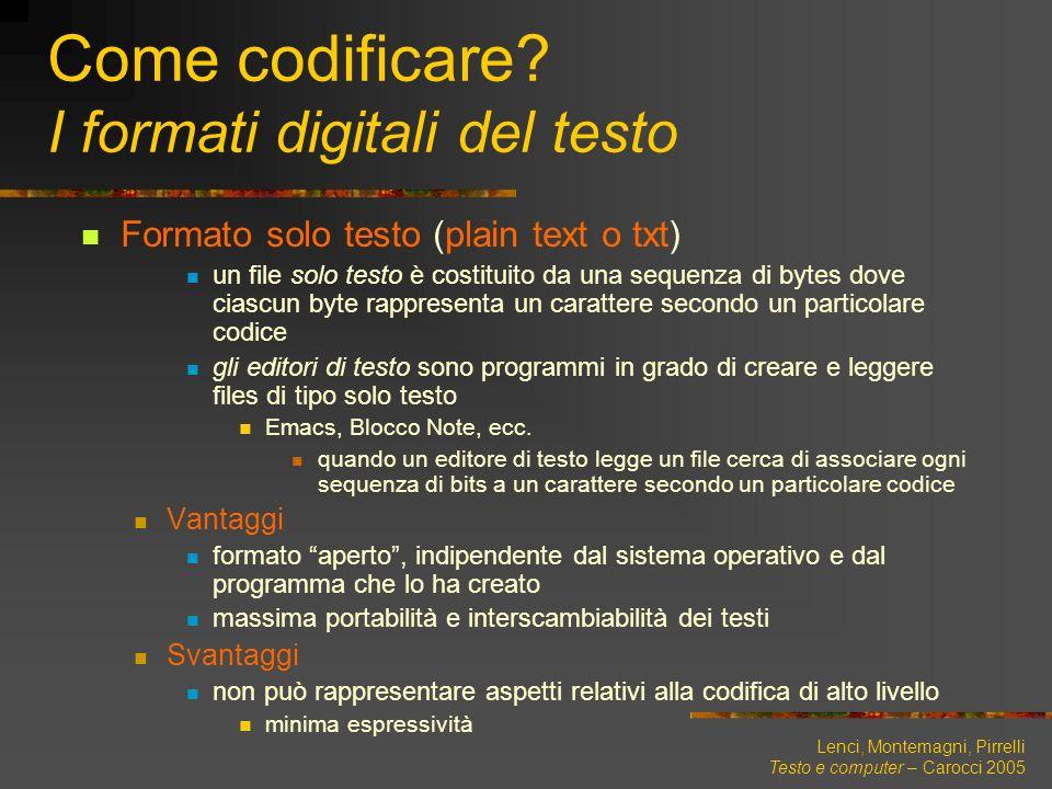 Come codificare I formati digitali del testo