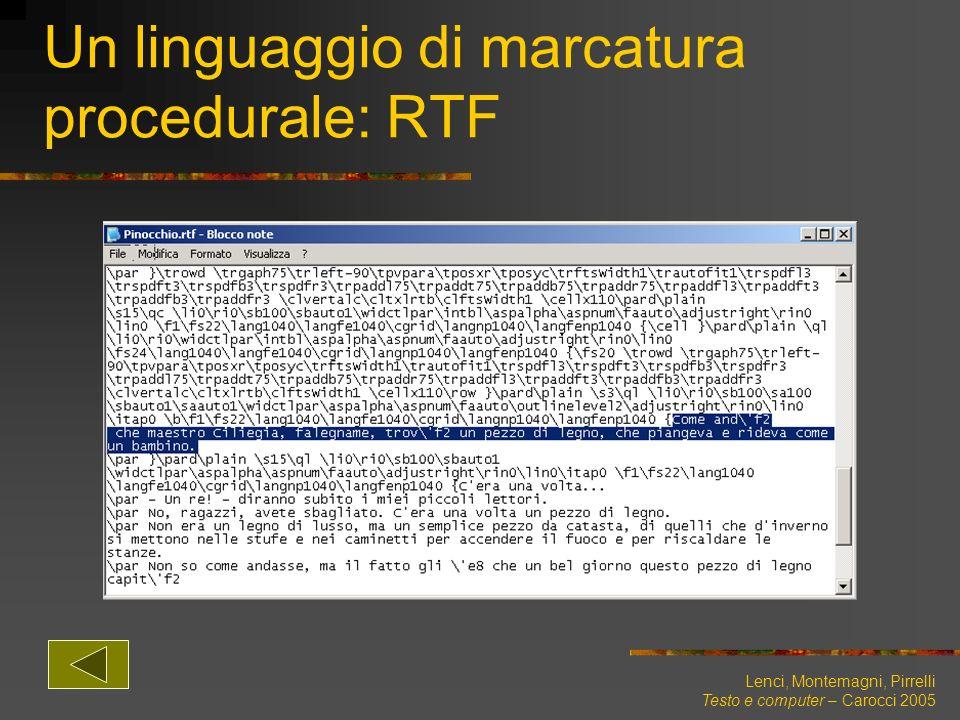 Un linguaggio di marcatura procedurale: RTF