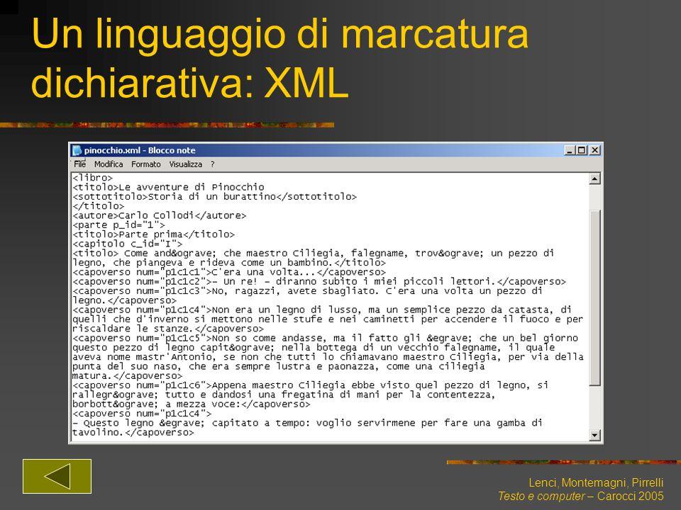 Un linguaggio di marcatura dichiarativa: XML