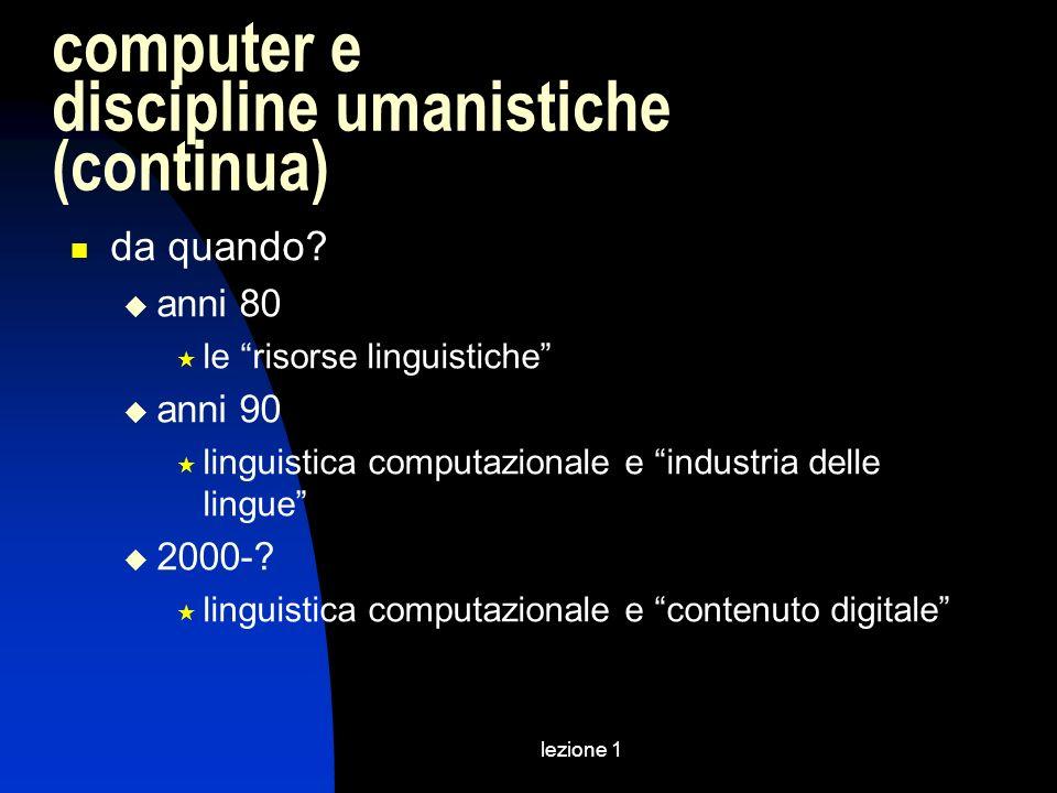 computer e discipline umanistiche (continua)