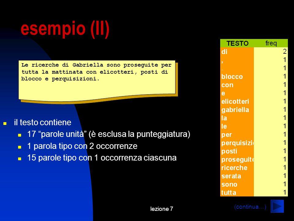 esempio (II) il testo contiene