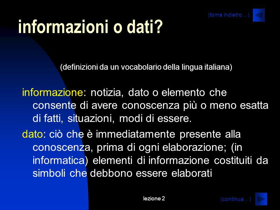 (definizioni da un vocabolario della lingua italiana)