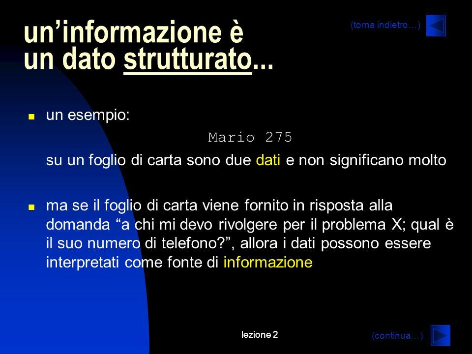 un'informazione è un dato strutturato...