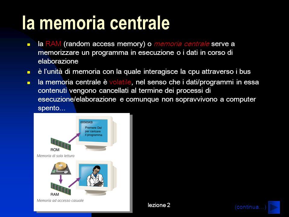 la memoria centrale la RAM (random access memory) o memoria centrale serve a memorizzare un programma in esecuzione o i dati in corso di elaborazione.