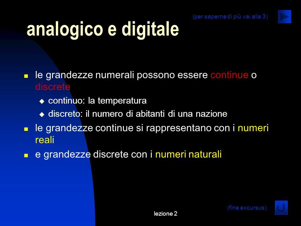 analogico e digitale (per saperne di più vai alla 3) le grandezze numerali possono essere continue o discrete.
