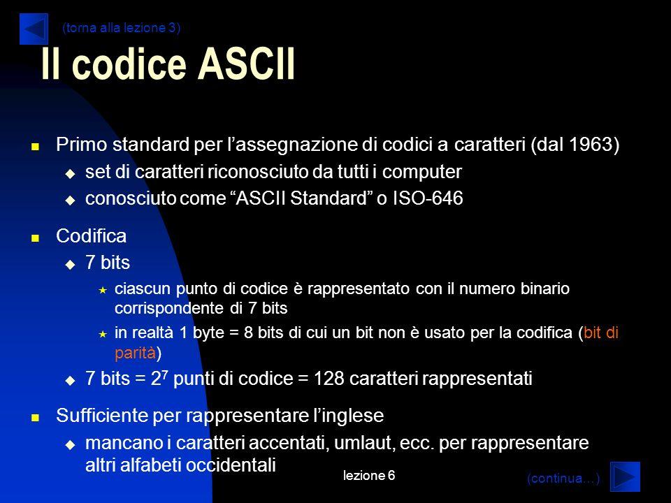 Il codice ASCII (torna alla lezione 3) Primo standard per l'assegnazione di codici a caratteri (dal 1963)