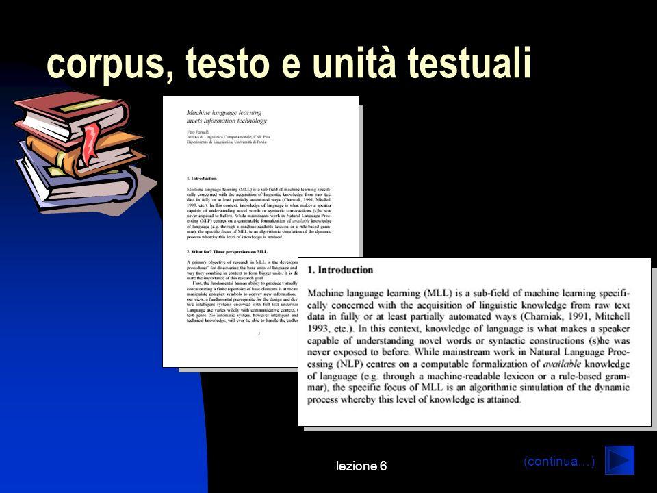 corpus, testo e unità testuali