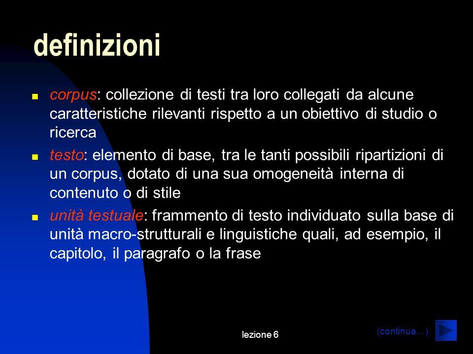 definizioni corpus: collezione di testi tra loro collegati da alcune caratteristiche rilevanti rispetto a un obiettivo di studio o ricerca.