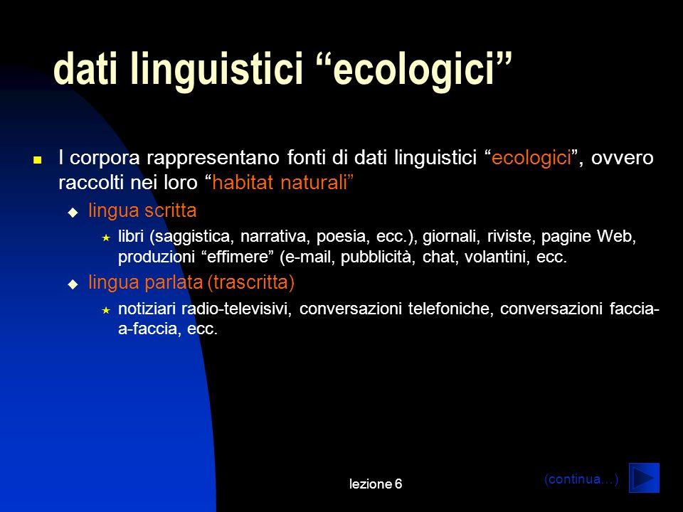 dati linguistici ecologici