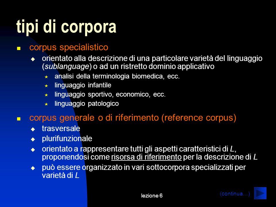 tipi di corpora corpus specialistico