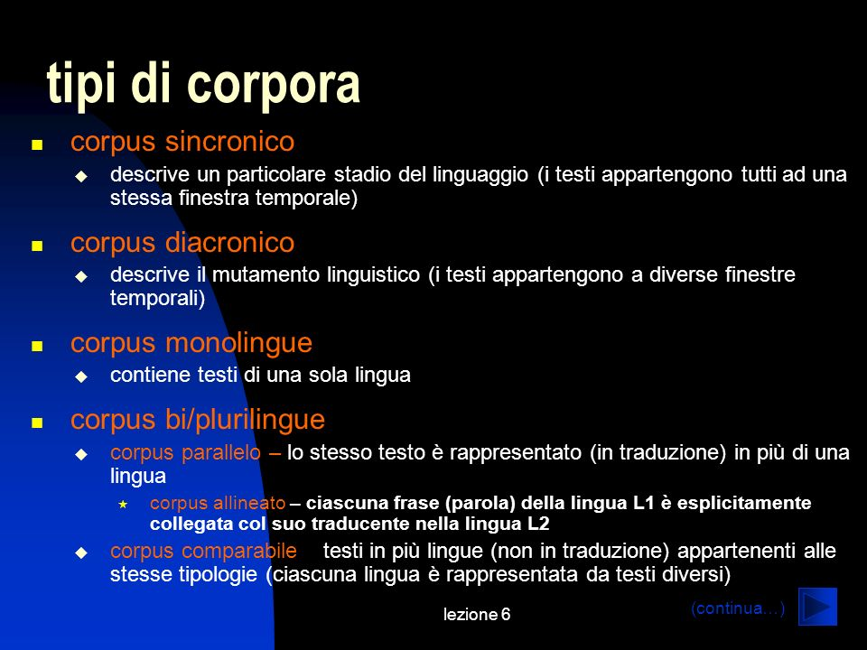 tipi di corpora corpus sincronico corpus diacronico corpus monolingue