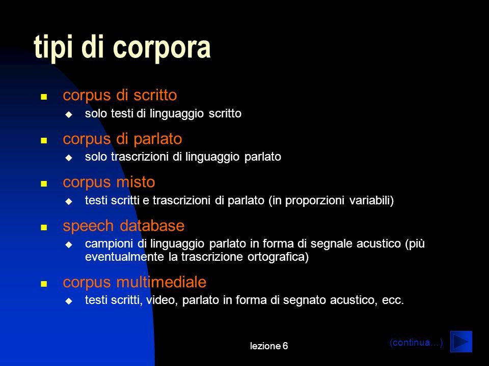 tipi di corpora corpus di scritto corpus di parlato corpus misto