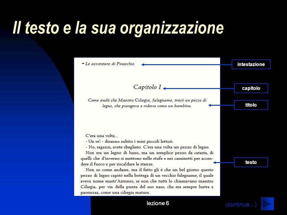 Il testo e la sua organizzazione