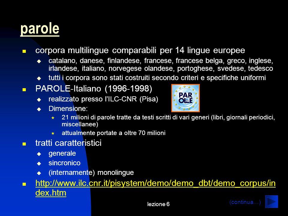 parole corpora multilingue comparabili per 14 lingue europee