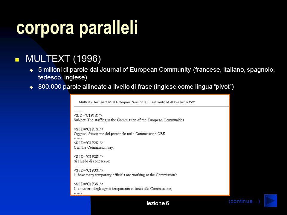 corpora paralleli MULTEXT (1996)
