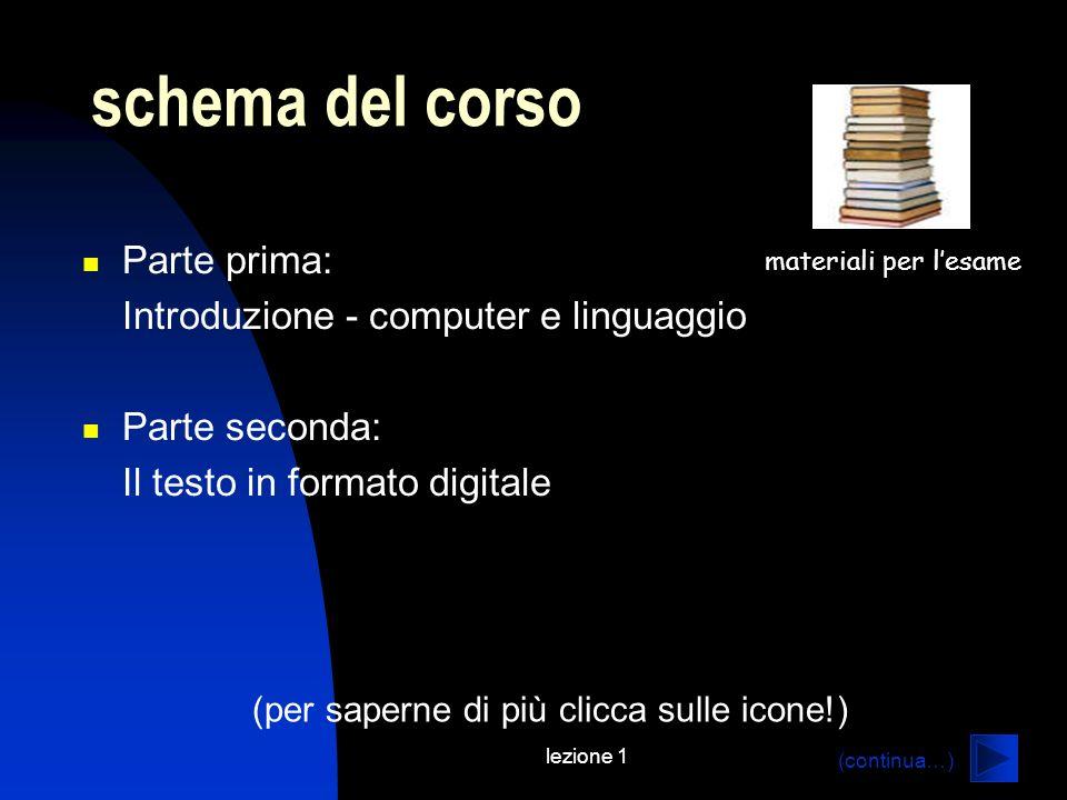 schema del corso Parte prima: Introduzione - computer e linguaggio