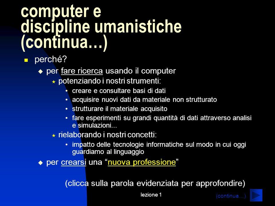 computer e discipline umanistiche (continua…)