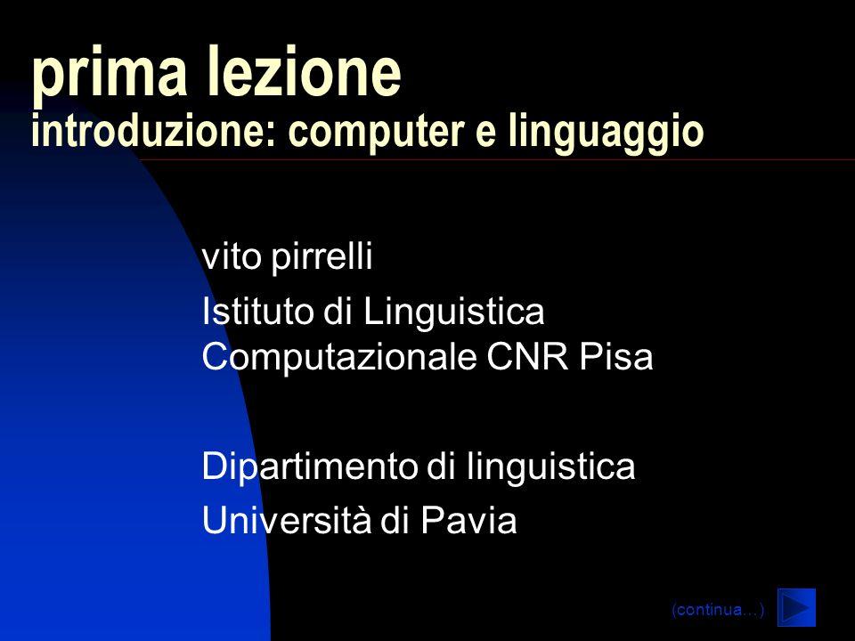 prima lezione introduzione: computer e linguaggio