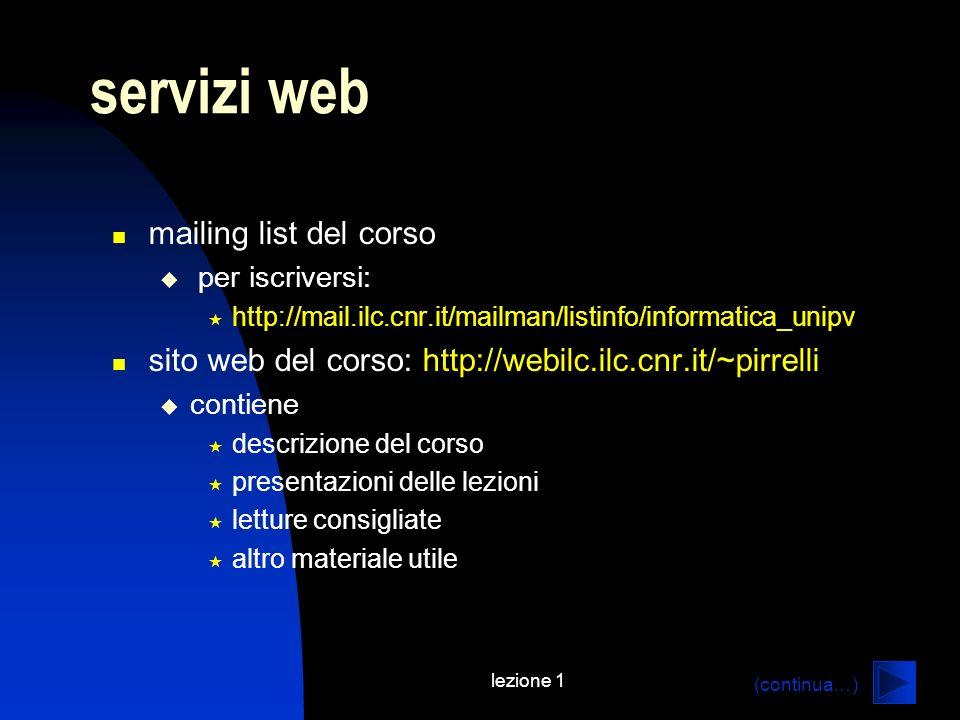 servizi web mailing list del corso