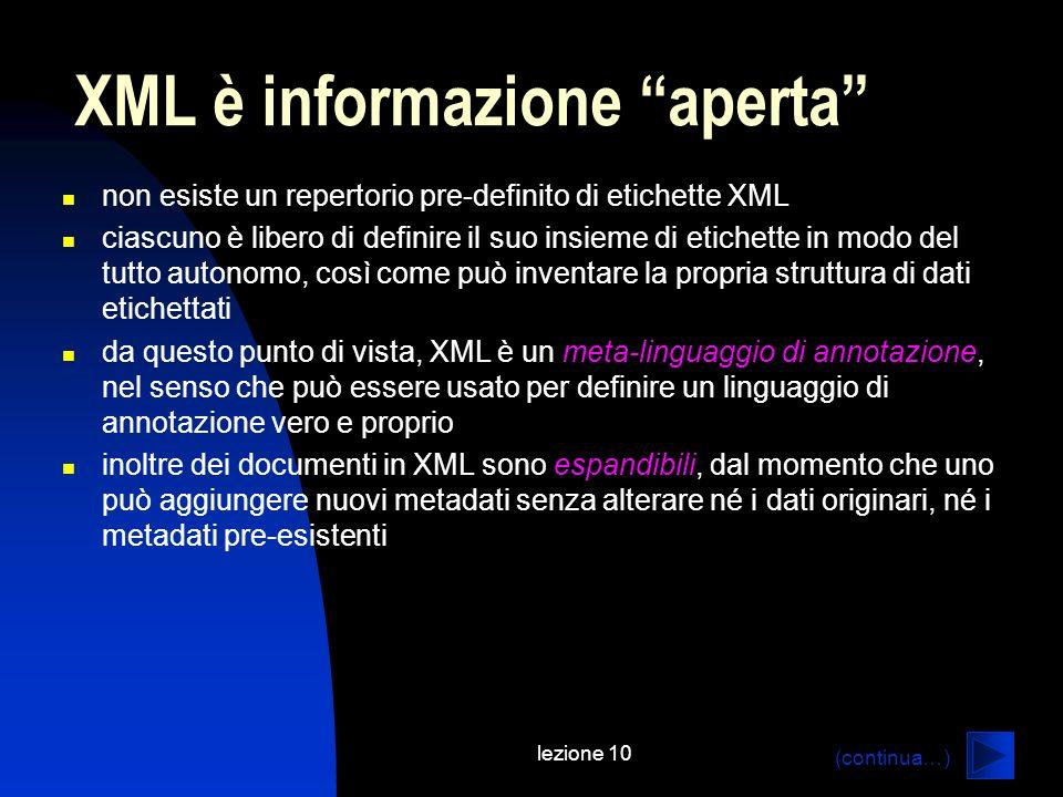 XML è informazione aperta