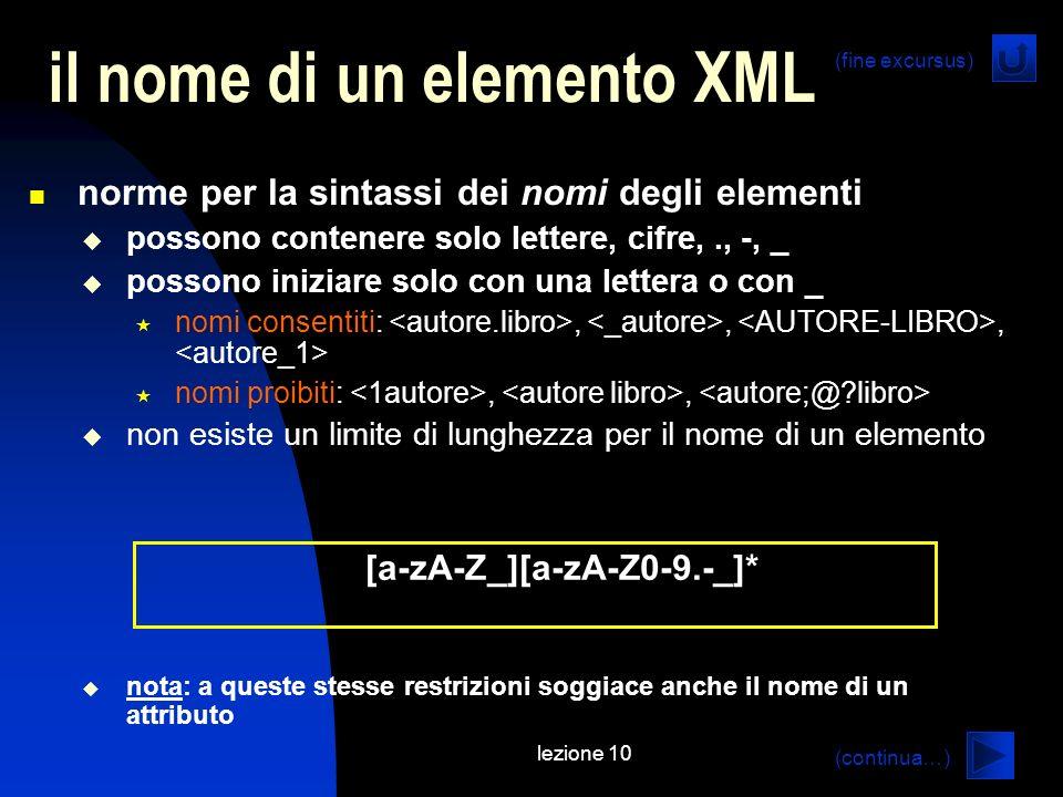 il nome di un elemento XML