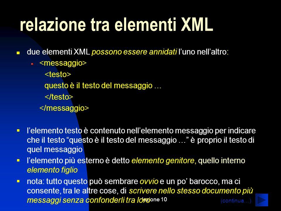 relazione tra elementi XML