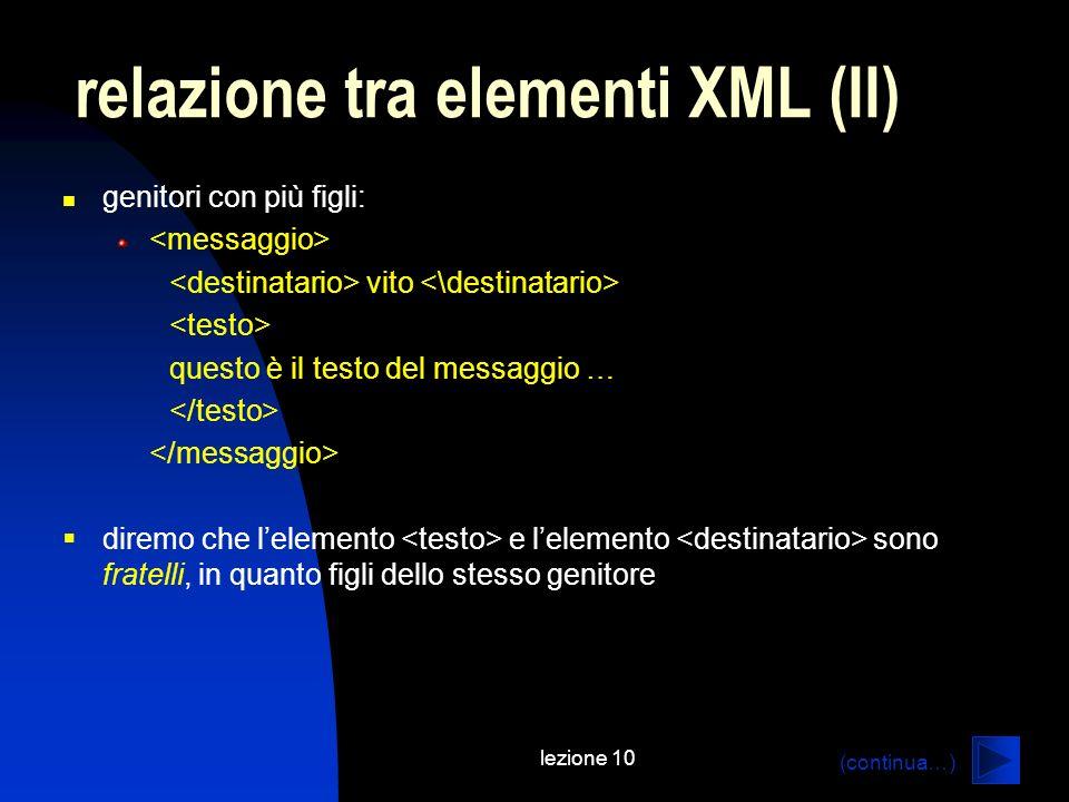 relazione tra elementi XML (II)