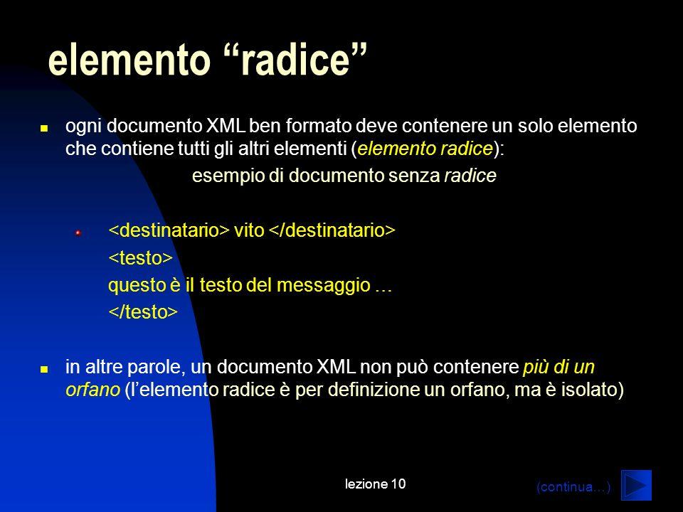 esempio di documento senza radice