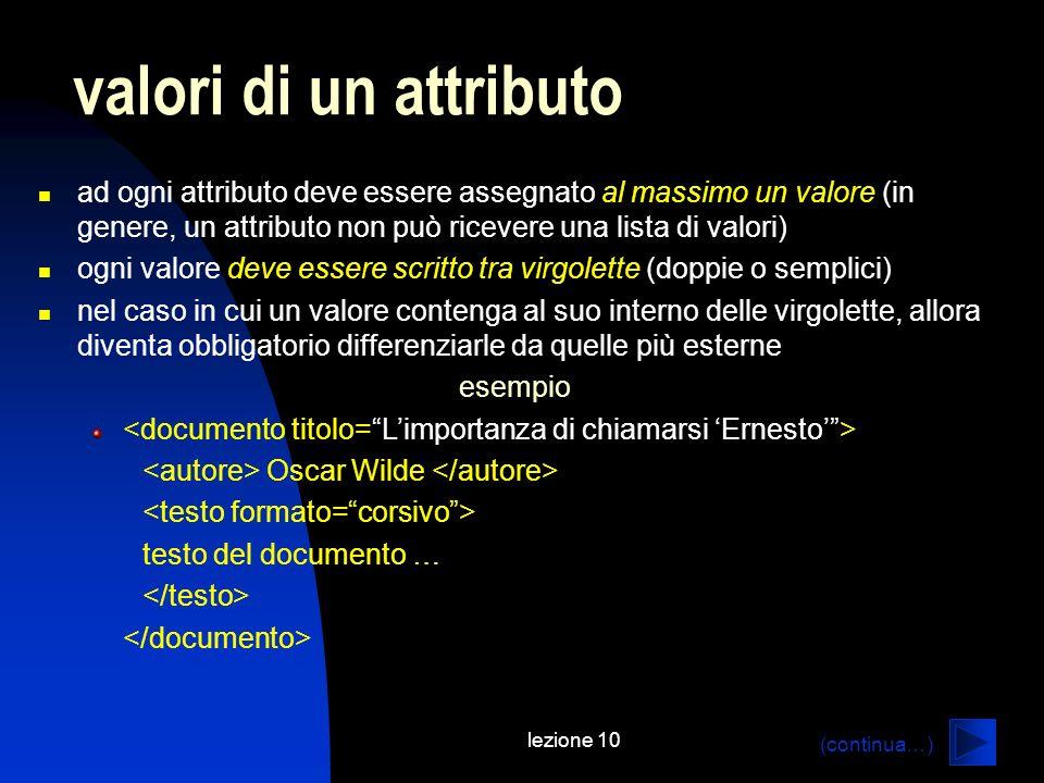valori di un attributo ad ogni attributo deve essere assegnato al massimo un valore (in genere, un attributo non può ricevere una lista di valori)