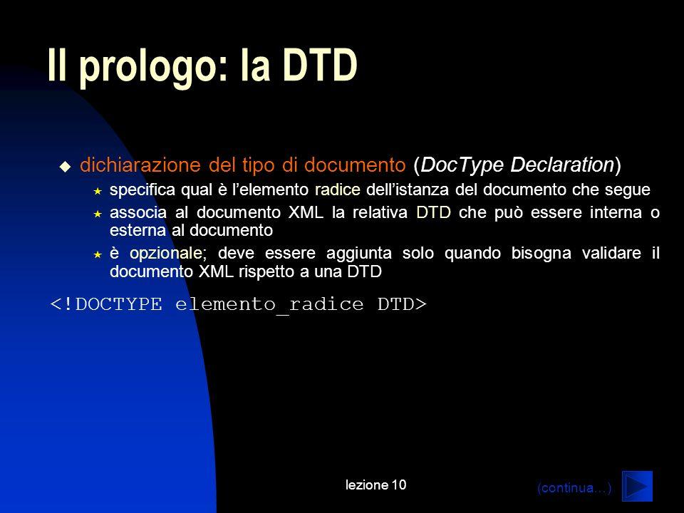 Il prologo: la DTD dichiarazione del tipo di documento (DocType Declaration) specifica qual è l'elemento radice dell'istanza del documento che segue.