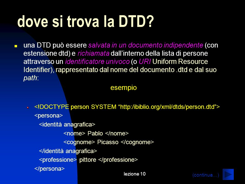 dove si trova la DTD
