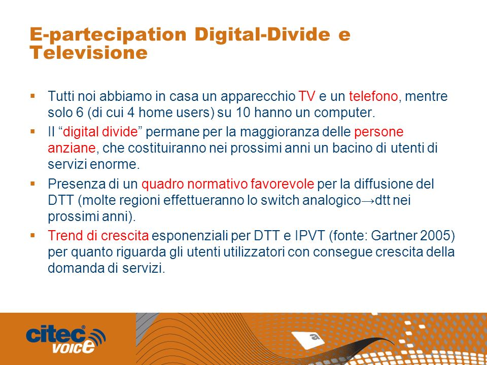 E-partecipation Digital-Divide e Televisione