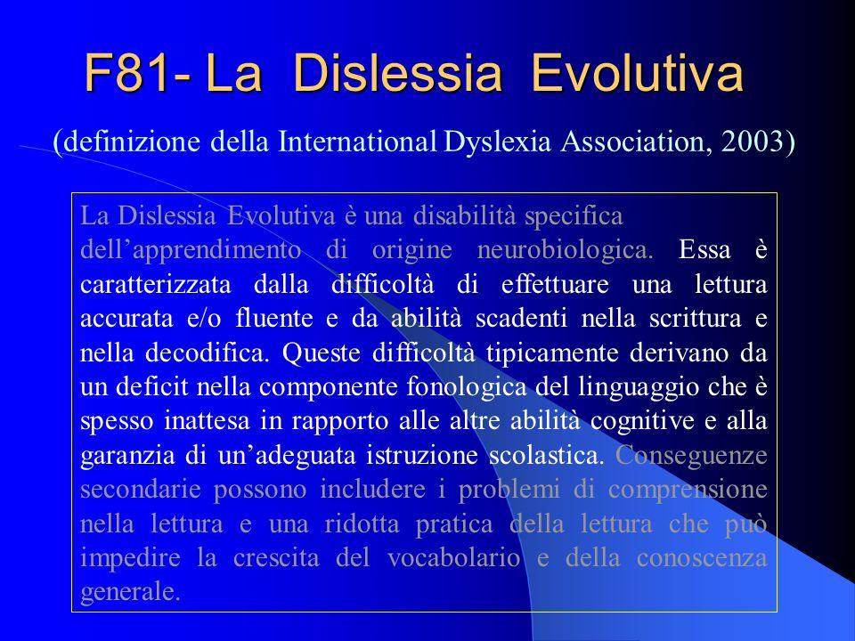 F81- La Dislessia Evolutiva