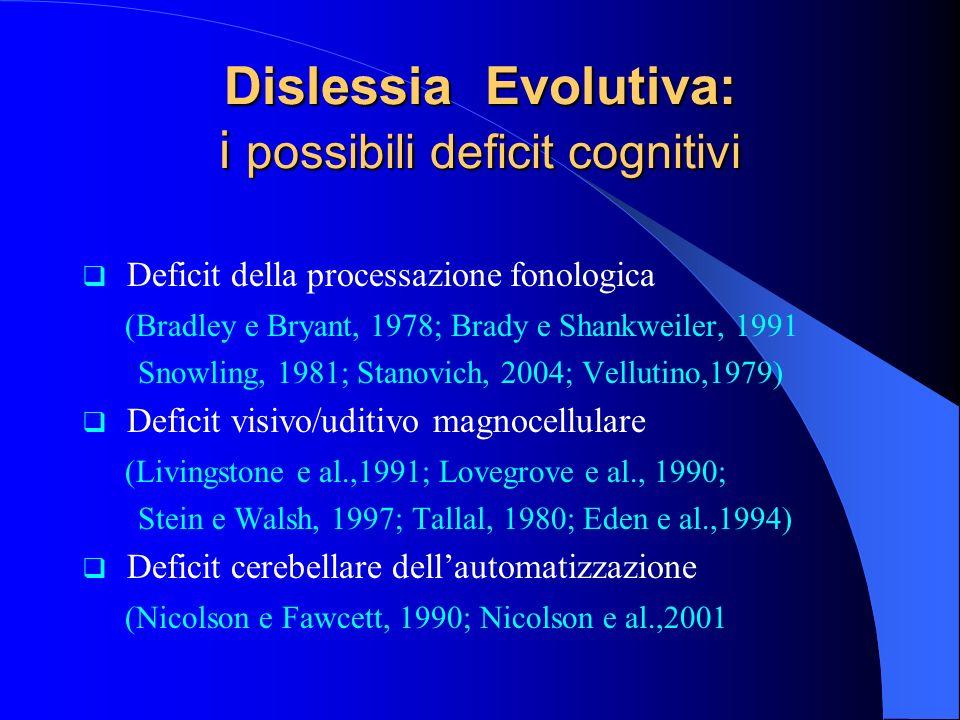 Dislessia Evolutiva: i possibili deficit cognitivi