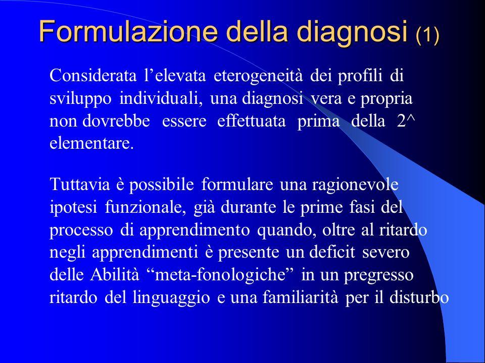 Formulazione della diagnosi (1)