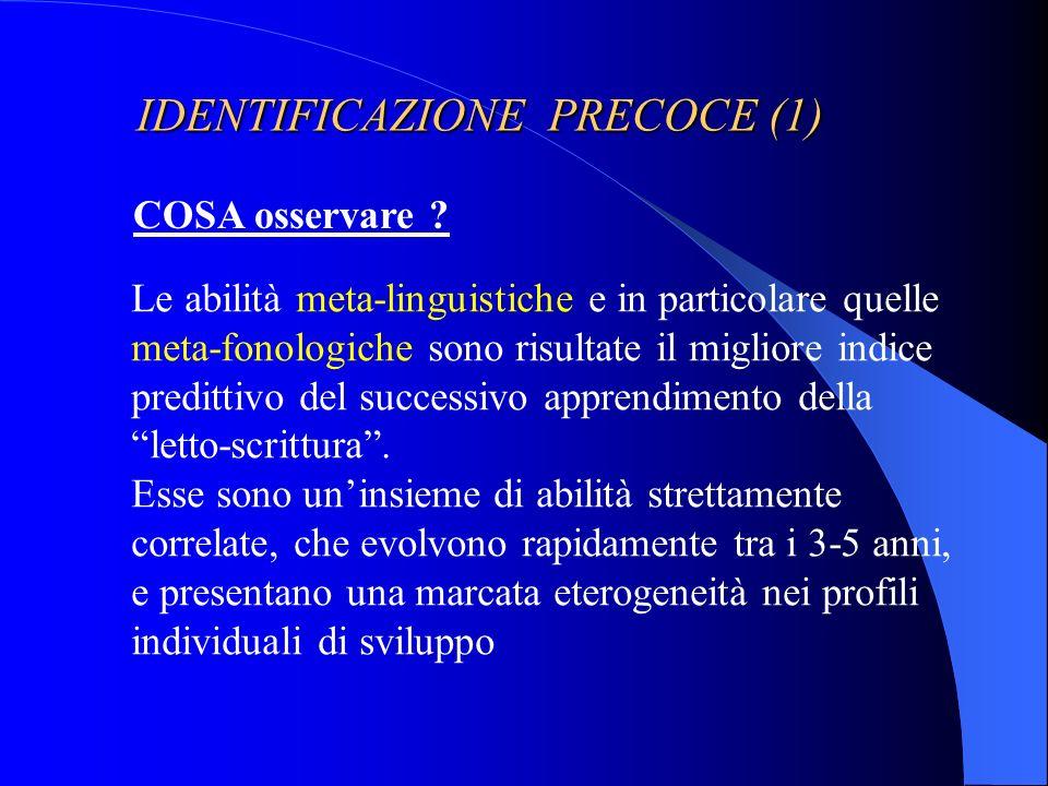 IDENTIFICAZIONE PRECOCE (1)