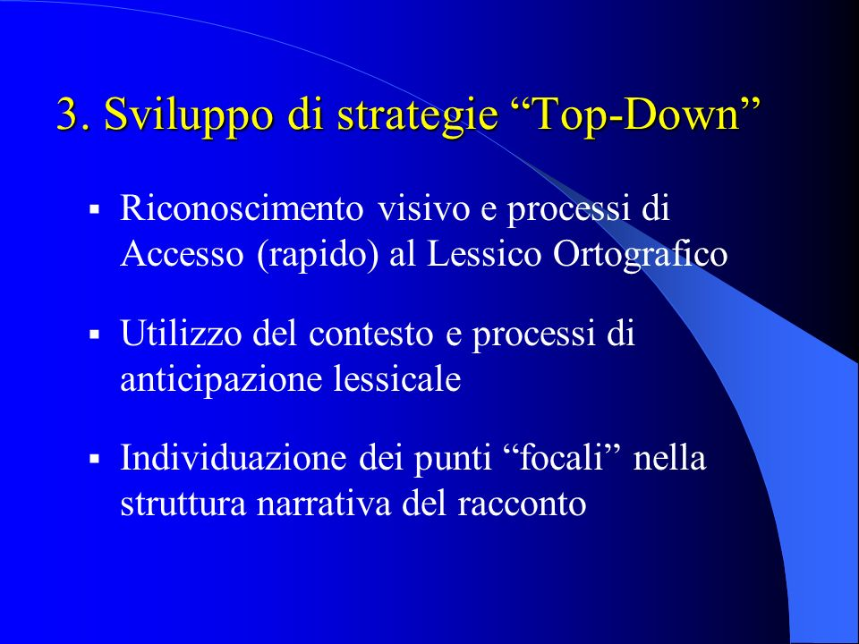 3. Sviluppo di strategie Top-Down