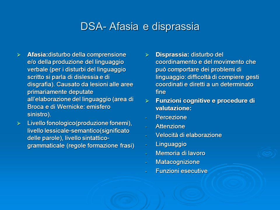 DSA- Afasia e disprassia