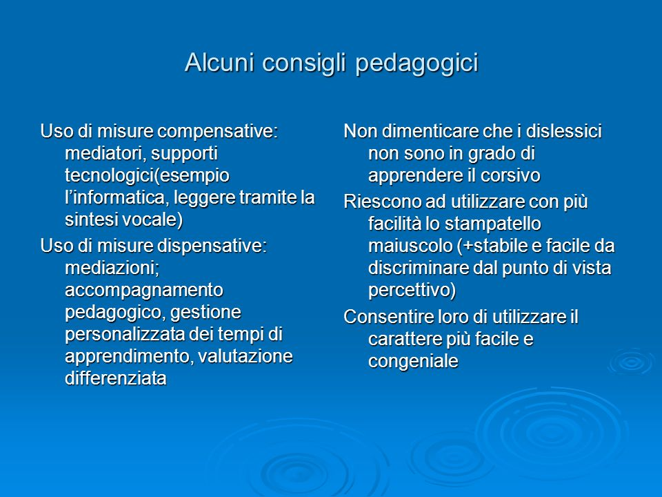 Alcuni consigli pedagogici