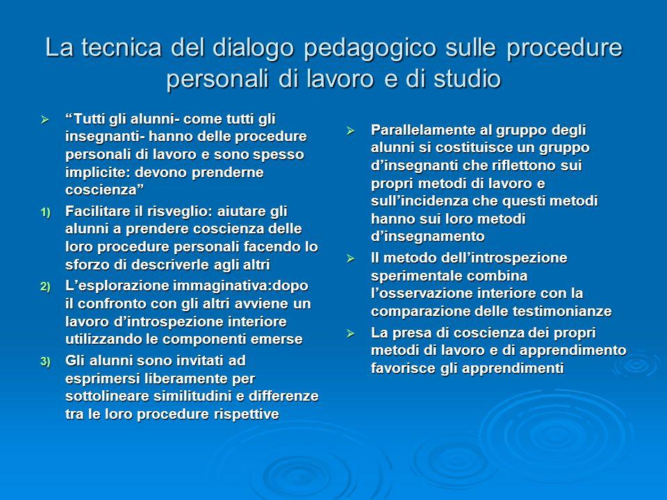 La tecnica del dialogo pedagogico sulle procedure personali di lavoro e di studio