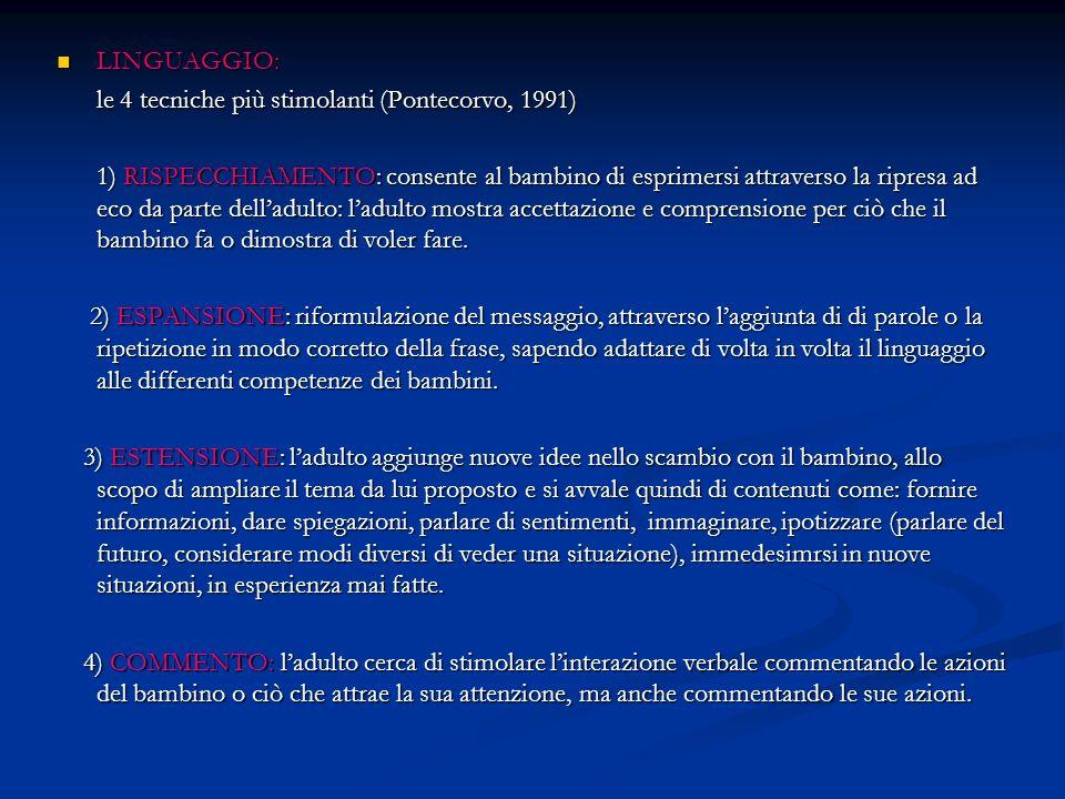 LINGUAGGIO: le 4 tecniche più stimolanti (Pontecorvo, 1991)