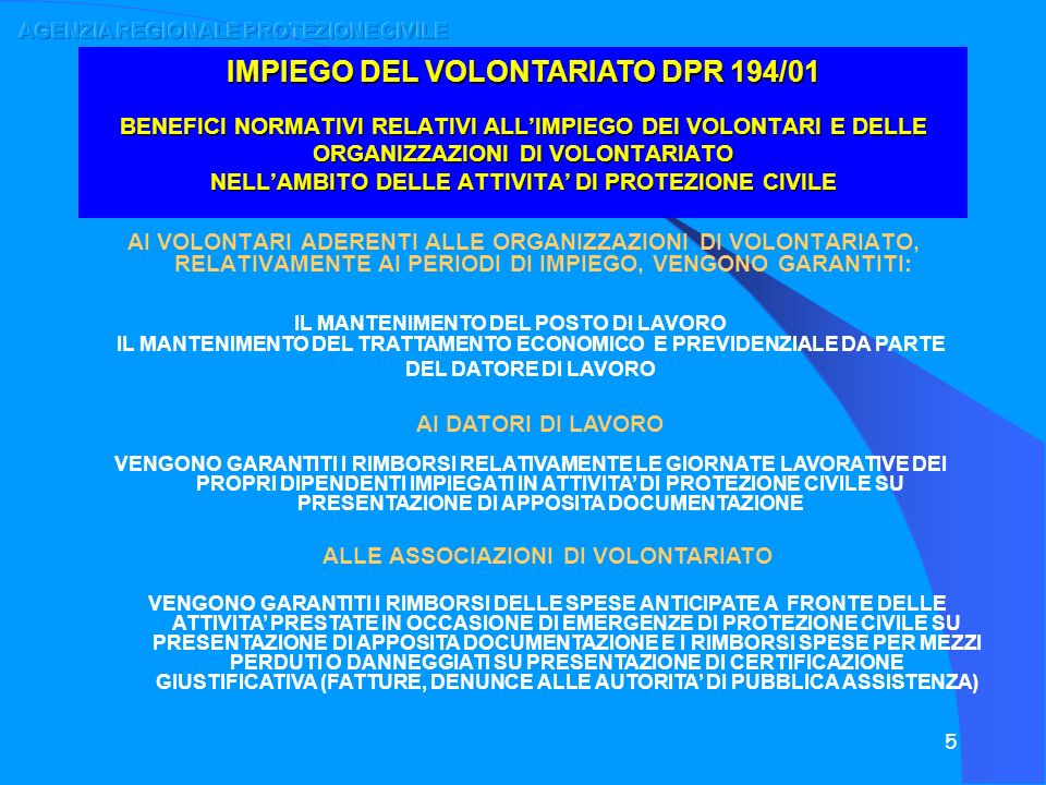 IMPIEGO DEL VOLONTARIATO DPR 194/01