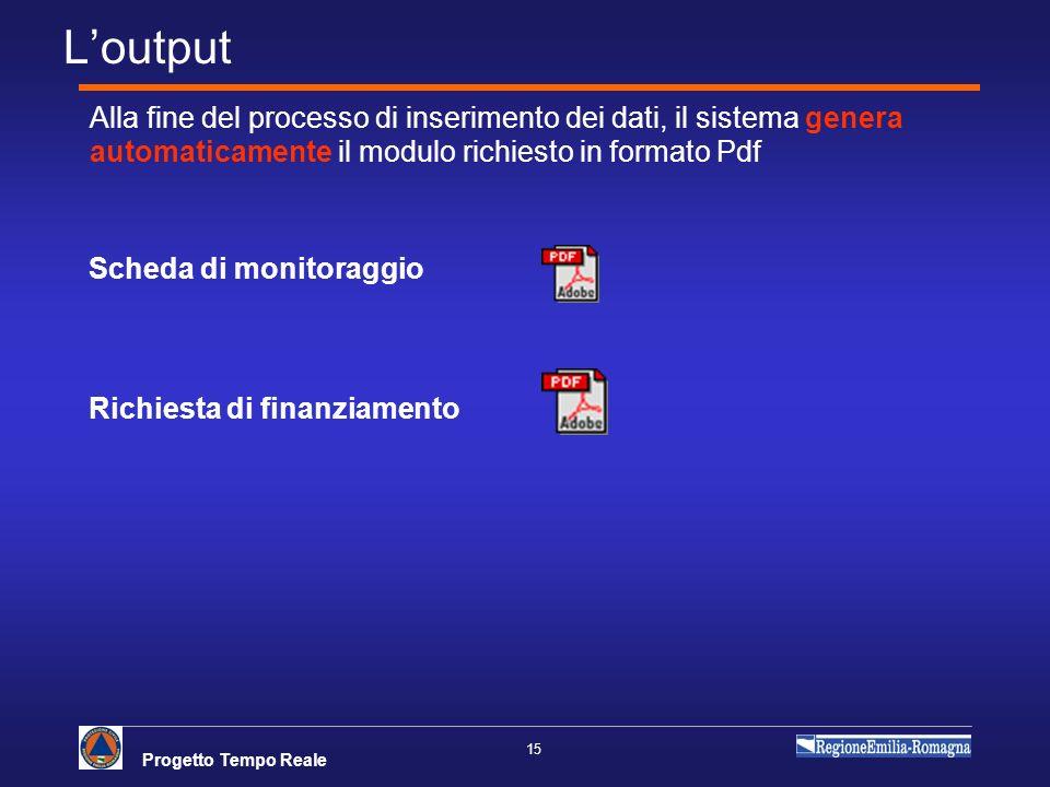 L'output Alla fine del processo di inserimento dei dati, il sistema genera automaticamente il modulo richiesto in formato Pdf.