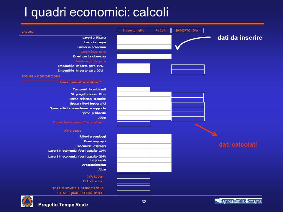 I quadri economici: calcoli