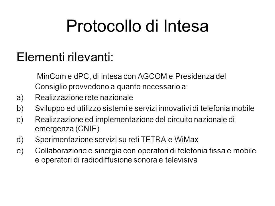 Protocollo di Intesa Elementi rilevanti: